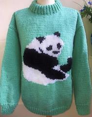 Panda - heavy knitted wool sweater WWF (Mytwist) Tags: wwf hand knitted sage green jumper sweater with cute panda image by bexknitwear beckyrebo wool fashion style modern sylish retro woolen design love passion laine