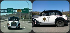 SOMETHING WE SAW ON THE ROAD (Visual Images1) Tags: diptych two antique car policecar roadtrip