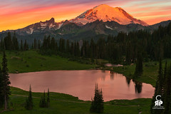Tipsoo Sunrise (Chris Ross Photography) Tags: d800 tipsoo lake mountain rainier tree scenic landscape snow glacier orange glow