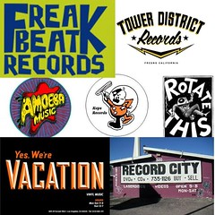 #Today is #recordstoreday 🎸🎶👍 Stop by any of these #stores to pick up our #music... #supportlocal #supportindependentbusinesses #SupportIndieMusic  . . #freakbeat #towerdistrict #amoeba #kops #vacation #rotatethis #recordcity #losang