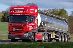 SCANIA R580 V8  - A & F GRANT LTD. Ballindalloch Morayshire (scotrailm 63A) Tags: lorries trucks tankers
