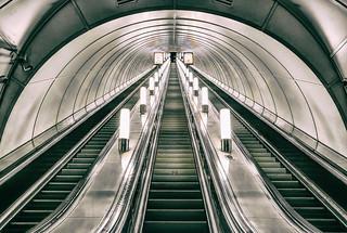Escalators in the Admiralteyskaya metro station