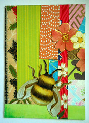 ATC1339 - Patchwork 12: Bee revival (tengds) Tags: atc artisttradingcard artcard handmadecard bee flowers paperscraps japanesepaper yuzenwashi washi chiyogami scrapbookpaper green red pink orange blue papercraft tengds