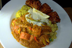 Balti Chicken Tikka Jalfrezi, Keema Rice, Onion Bhaji (Tony Worrall) Tags: add tag ©2016tonyworrall images photos photograff things uk england food foodie grub eat eaten taste tasty cook cooked iatethis foodporn foodpictures picturesoffood dish dishes menu plate plated made ingrediants nice flavour foodophile x yummy make tasted meal baltichickentikkajalfrezi keemarice onionbhaji curry