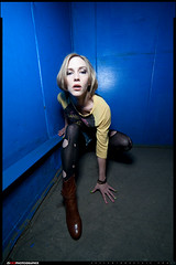 Erica (VKMUSTBEDESTROYED) Tags: blue female feminine elevator detroit perspective ripped wideangle nylons ringlight orbis 14mm rokinon russellindustrialcenter