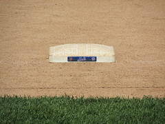 Citi Field, 05/16/13: zoom-lens closeup of third base (IMG_0860) (Gary Dunaier) Tags: newyorkcity baseball stadiums queens mets queensborough newyorkmets queensboro ballparks flushing stadia queenscounty citifield
