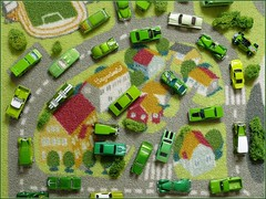 Time to turn Green (tonywheels) Tags: road green cars ford chevrolet truck traffic wheels tapis pickup vert chevy porsche hotwheels 164 dodge environment nomad pontiac mustang charger datsun voitures tbird trafic diecast ecologique tonywheels