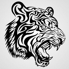Tiger Tattoo (diep nguyen_94) Tags: black nature beauty up animal tattoo illustration ink cat indonesia asian mammal zoo design big graphic head wildlife tiger tribal safari jungle whisker angry hunter curve aggressive predator wildcat vector element tigress fang sumatran