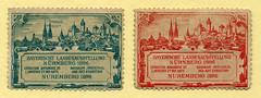 Werbemarken fr die Bayrische Landesausstellung 1896 (altpapiersammler) Tags: kunst nrnberg 1896 schriftdesign zierschrift werbemarke bayrischelandesgartebschau1896