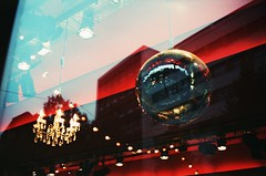 Chandelier & Mirror ball (schoeband) Tags: film bar analog 35mm mirror schweiz switzerland xpro theater suisse basel chandelier crossprocessing svizzera mirrorball outsidein canonetgiiiql17 fujichromeprovia100f