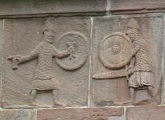 Andlau - Two knights sword-fighting (petrus.agricola) Tags: church abbey saint paul roman pierre frieze peter fries alsace frise romanesque glise andlau abbatiale romanisch abteikirche