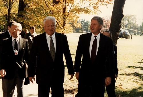 President Bill Clinton and Russian President Boris Yeltsin