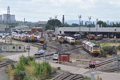 """Stored at Toton (37190 """"Dalzell"""") Tags: grey shed db doughnut tug bluebird shunter schenker class66 ews toton gronk class60 class08 gbrf maroongold stobartrail class660 class667 englishwelshscottishrailways tractiondepot"""