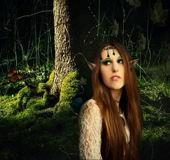 The Elf Vol.1 (Sabry Ardore) Tags: wood tree green nature girl forest photoshop butterfly hair long lord redhead elf rings fantasy fantasia editing creature arwen edit jewel bosco elfa potography