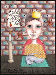 Life is Perrrrfect - Kylie Pepyat-Fowler (Kylie Fowler AKA: Blissful Pumpkin) Tags: castle girl birds collage cat portraits painting bigeyes artwork perfect candle mixedmedia crown whimsical howtodraw whimsicalmixedmediaart kyliefowler kyliepepyat kyliepepyatfowler blissfulpumpkin kyliefowlercom howtopaintbigeyedgirlskyliepepyatkyliepepyatfowler