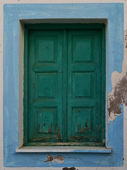 Closed Shutters (Nikos Niotis) Tags: old blue color green wall architecture design wooden europe closed paint close blind traditional aegean plaster plastic greece shutter marble karpathos diafani dodekanissa dodecanesse vision:text=0886