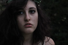 Such a sweet terrible thing (ARMarfoglia) Tags: portrait white black green me girl beautiful forest self canon dark hair outside sad over expose creepy earthy crown remote freckles exposed