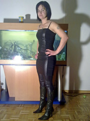 leather look # 5 (trapez) Tags: black sexy stockings girl beautiful beauty leather shiny boots babe lingerie thong string tight schwarz spandex leder lycra leotard leggings stiefel geil schn glnzend glanz stringbody strmpfe thongbody glanzleggings