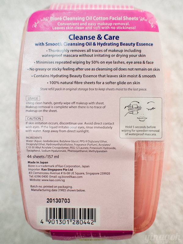 Biore Cleansing Oil Cotton Facial Sheets New