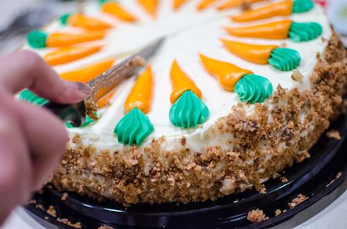 Cutting a Costco Carrot Cake
