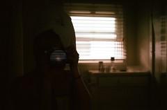 beach hotel (spitting venom) Tags: camera film me window girl self 35mm bathroom shower hotel mirror cabinet towel selfie nikonfm