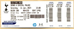 Tottenham Hotspur v Crystal Palace match ticket (2014) (The Wright Archive) Tags: uk england white london spurs football crystal stadium soccer january ground ticket 11 palace v lane match hart premier league tottenham 2014 hotspur cpfc thfc