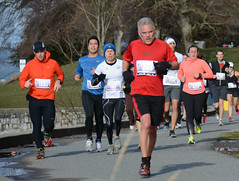 First Half Feb 16 2014 095440 (gherringer) Tags: canada vancouver race outdoors athletics downtown bc exercise britishcolumbia competition running seawall runners englishbay stanleypark colourful westend fit active bibs 211km 131mi vanfirsthalf