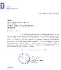 Saludo del Señor Rector de la Universidad de Playa de Ciencias de la Educación, Don Oscar Quiróz Mejías. 20 de abril de 2006.