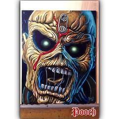 Eddie painting I did for my buddy Brian's bday-8x10 acrylic on gessoboard #edthehead #eddie #ironmaiden #rocknrollribs #pieceofmind @rocknrollribs @trekell_art_supplies #gessoboard #pooch