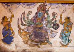 Colorful Frescoes Of Lord Shiva On Walls Of Inner Courtyard In The Brihadishwara Temple, Thanjavur, India (Eric Lafforgue Photography) Tags: india color colour history painting temple photography religion nobody nopeople courtyard indoors inside shiva thanjavur hinduism fresco tamilnadu paintedwall placeofworship tanjore innercourtyard epics colorimage indianculture brihadishwaratemple indianmythology hinduimage brihadishvaratemple colorfulmuralpainting hinduepics