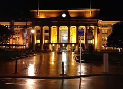 The clock struck twelve :  Wellington Railway Station on a wet evening (Photo Trunk) Tags: building clock wet station night reflections evening railway midnight wellington