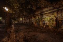 """La noche de los lápices"" (karinavera) Tags: travel sonya7r2 buenosaires night urban street argentina wallart graffiti people walking city"