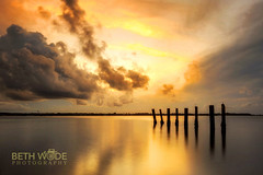 Golden Light (Beth Wode Photography) Tags: sunset dusk goldensunset reflections moretonbay cleveland oldjetty clevelandjetty clouds sunsetclouds beth wode bethwode