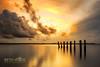 Golden Light (Beth Wode Photography) Tags: sunset dusk goldensunset reflections moretonbay cleveland oldjetty clevelandjetty clouds sunsetclouds beth wode bethwode