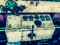 In Control (daedmike) Tags: railway caledonianrailway scotland angus montrose steam train engine dials rust industrial lever pipe fossit bolts metal cabin