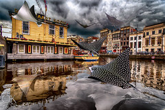 Que Rayada (Ok More Photos) Tags: composite amsterdam eagleray flying fly canal city dream dreamscape clouds cloudy stormy reflection water animals urban town buildings street