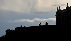 [ Tra nuvole e roccia - Between clouds and rock ] DSC_0092.2.jinkoll (jinkoll) Tags: silhouette sky clouds people street tropea church isola blue black minimal