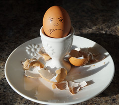 Hard boiled - Smiles on Saturday (Explored) (Rob Hall -) Tags: egg eggs boiled shell plate crockery face doodle draw angry smileonsaturday hardboiled