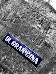 Borderline in Konstancin (roomman) Tags: konstancinjeziorna konstancin jeziorna 2017 poland city villa luxury old decay ruin ruins strange eeri errie place lost lostplace lostplaces forlorn bored border borderline sign blue colour granica graniczna bw blackandwhite bandw monochrome contrast grey nature landscape country countryside forest wood woods tree trees