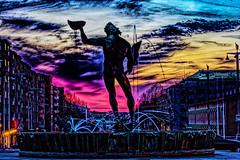 Poseidon´s Fury (Cederquist Christoffer) Tags: poseidon staty statue fountain fontän götaplatsen göteborg sverige gothenburg sweden urban avenyn avenue firstavenue city fury vrede sky extreme extrem colours colors contrasts contrast cloud clouds cloudy red yellow blue sunsetmagic sunset urbansunset moody tonemapped fantasy singleexposure