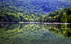 Healing visions (Captions by Nica... Back on June 5) Tags: reflections reflection water landscape lake nature outdoor mountain mountains trees tree quebec canada september
