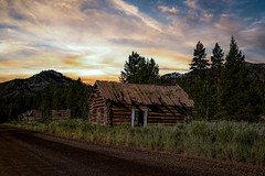 Bonanza Cabin (Rustic Lens Photography) Tags: stanley idaho unitedstates bonanza ghost town ghosttown mining camp sunset cabin yankeefork gold explore travel photography