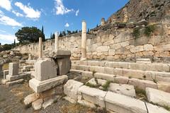 "Delphi, The Sacred Way – XI – The Athenians' Stoa (egisto.sani) Tags: ""early classical period"" primo classico periodo ""eumenes ii"" soter ""attalus pergamon"" attalo pergamo attalus athenians stoa"" ""stoa degli ateniesi"" stoa portico phocis focide delphi delfi ""archaeological museum"" ""museo archeologico"""