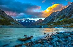 Hooker Lake (Daniel.Peter) Tags: hookerlake hookervalley mtcook nz neuseeland newzealand clouds dpe3x glacier icebergs lake landscape sunset