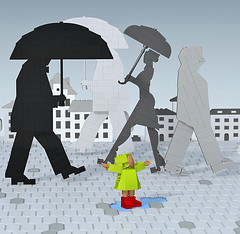 Shadows of the rain (vir-a-cocha) Tags: lego rain umbrella silhouette shadow scene ldd town people man woman girl