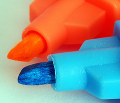 Orange and Blue (Smiffy'37) Tags: tips orange blue highlighters objects stilllife minimalist macro macromondaysorangeandblue