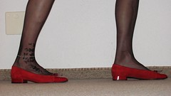 red ballet flats, black nylons, tattoos, anklet - close up pics (Isabelle.Sandrine1999) Tags: leather shoes pumps ballet flats ballerinas sabrinas shoeplay dangling toes nylons stockings tattoo anklet redballetflats