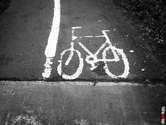 Bicycle (BigRedTroll) Tags: bw bicycle bicyclepath blackandwhite cycleway icon monochrome paint path pathway sign transport vehicle vignette canon g10