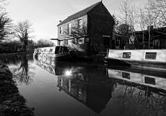 Clifton Wharf, Oxford Canal (mattgilmartin) Tags: canal narrowboat oxford clifton bw