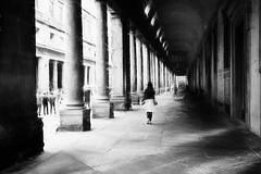 Woman with hat (www.streetphotography-berlin.com) Tags: street streetphotography streetlife woman alone walk uffizi florence italy tuscany blackandwhite blackwhite column light shadow impressionism impressionist